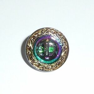Czech Glass Shield Style Shank Button 14mm Vitral Green Purple w/Gold Clr Finish