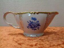 DDR Kahla Porzellan Sauciere - Vintage - um 1970 - Blaue Blumen Goldrand