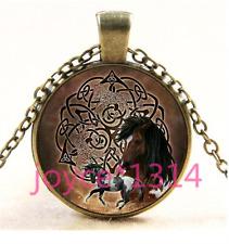 Vintage Celtic horse Cabochon bronze Glass Chain Pendant Necklace TS-3931