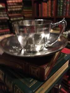 JAMES W TUFFS SILVER PLATE CUP & SAUCER: MADE in BOSTON