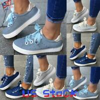 Fashion Women's Casual Flat Shoes Lace Up Bow Sneakers Comfort Shopping Party US