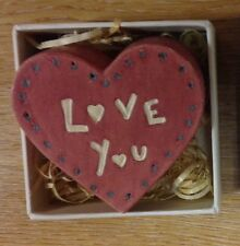 East of India love heart token boxed wooden Love You valentine gift