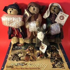 Boyds Bears Nativity Wise Men with Donkey plush Rare Four piece 2006 vintage