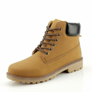 Winter Warm Mens Camouflage Lace Up Ankle Leather Boots Punk Retro Outwear Shoes