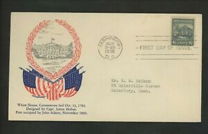 US FDC #809 M#59 W.M. Grandy Cachet 4 1/2c White House 1938 Prexy Prexie
