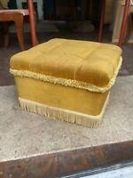 Vintage Mustard Yellow Velvet Footstool Pouffe 18x18in 46x46cm