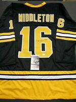 Rick Middleton Boston Bruins Autographed Signed Black Style Jersey XL JSA-Coa