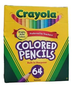 Crayola Colored Pencils 64 Count With Built-In Sharpener NEW Nontoxic
