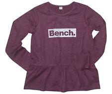 BENCH Shirt Gr. 128 134 bordeaux meliert Logoprint Langarmshirt neu