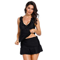 Women's Ruched Tankini Skirted Padded Bra Swimwear Two Piece Swimsuit Swim Dress