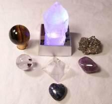 Quartz Crystal Point + CB, Lapis, Tiger's, Amethyst, Pyramid, Rainbow Light Box
