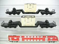 AJ274-0,5# 2x Märklin H0/AC 4618 (?) Tiefladewagen m. Bahia-Kiste 980896 DB
