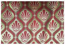 Tessuto Tappezzeria Velluto Cinigliato a Coste Medaglione Rosso Oro 50x280 cm