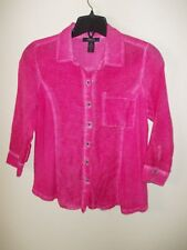 Style&co. Pink Shirt Blouse 3/4 Slv Pigment Dyed PM ECU