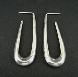 """Earrings Silver Hoops Oblong Shape Sterling 925 Pierced 1 3/4"""" Long Earrings"""