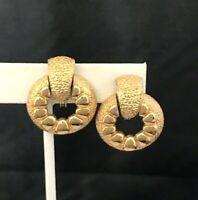 Vintage Signed Monet Earrings Clip Knocker Classic Gold Tone 4C