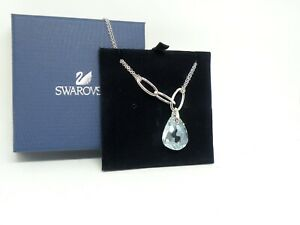 "Authentic Swarovski ""PARALLELE"" Mini Crystal Necklace Rhodium Finish New in Box"