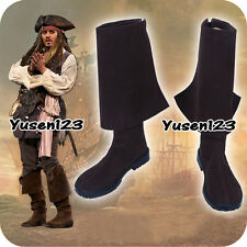 Pirates of the Caribbean 5 Captain Jack Sparrow Boots Cosplay Shoes Custom Made