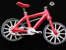 """SUMMER FUN PEDAL TIRE TRAIL RIDING CYCLE RED BICYCLE BIKE PIN BROOCH JEWELRY 2+"""""""