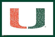 Miami Hurricanes Football HAIL TO THE SPIRIT Fight Song NCAA Logo POSTER