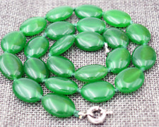 "Natural 13x18mm Green Emerald Gemstones Oval Beads Necklace 18"" AAA"