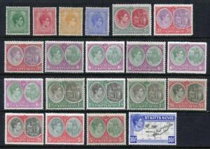 St Kitts - Nevis GVI 1938 Series to 10/- MM Cat est app £340 Fronts, Backs Shown