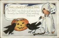 Halloween Little Girl Ghost & Crows WHITNEY c1910 Postcard