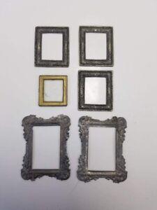 6 Piece Vintage Miniature DollHouse Metal Antique Pictures Frames Mirror