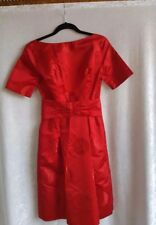 Vintage Red Brocade Cocktail Dress from 1960 Hand Tailored SZ 8-10