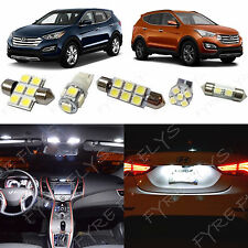 9x White LED lights interior package kit for 2013 - 2016 Hyundai Santa Fe YF1W