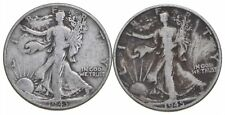 (2) 1943 & 1945-D Walking Liberty Half Dollars 90% Silver $1.00 Face *577