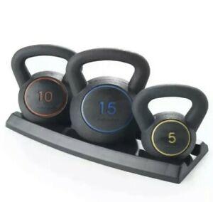 Weider 3 Piece Kettlebell Set 30 Pounds Total 5 LB 10 Lbs & 15LB Weight Training