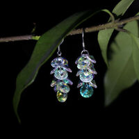 Faceted Hooks Earwires Pendant Earrings Crystal Ear Dangle Glass Round Beaded
