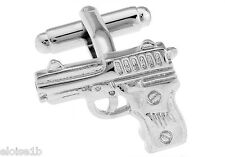 SMART NEW SILVER GUN JAMES BOND 007 CUFFLINKS WITH VELVET POUCH,  uk seller