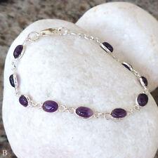 Natürliche Armbänder im Tennis-Stil aus Sterlingsilber mit echten Edelsteinen