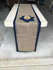 Burlap runners on navy fabric wedding party event rustic