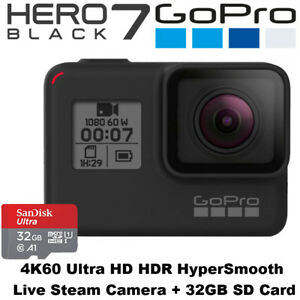 GoPro Hero 7 Black - 4k60 Ultra HD HDR hypersmooth Livestream Kamera + 32gb SD