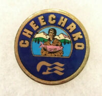 VINTAGE CHEECKAKO TRAVEL PINBACK ALASKA FISHERMAN'S HAT LAPEL PIN