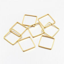 50 Pcs Golden Square Brass Linking Rings Finding For Jewellery Making 10x10x1mm