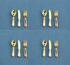 1:12 Scale Dollhouse Miniature 12 Piece Elegant Gold Cutlery Set #Zb19