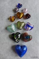 "Vintage Jewelry Heart Shaped Art (murano?) Glass Beads 0.5-1.25"""