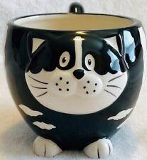 Chubby Cat Mug Hand Painted for Pier One Imports Black &White Ceramic Coffee Mug