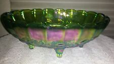 Carnival Glass Bowl Fruit Indiana Footed Oval Green Iridescent