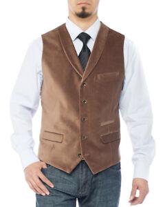 Luciano Natazzi Mens Dress Suit Vest Shawl Lapel Velvet Waistcoat Modern Fit
