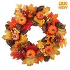 40CM Halloween Decor Fall Door Pumpkin Wreath Autumn Color Maple Leaf Garland//