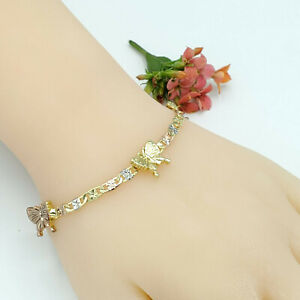 Woman Tri Color Gold Plated 3 Butterflies Chain Bracelet Pulsera Oro Laminado