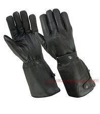 Large Mens Leather Motorcycle Gloves Gauntlet Snaps Model Long Gloves Rk-1027-L