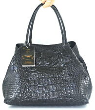 100% GENUINE CROCODILE LEATHER HANDBAG BAG TOTE HOBO EXTRA LARGE HUGE BLACK