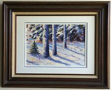 "Aivars Zandbergs signed ""Mezmala"" Winter Forest Watercolor Latvia - Frame 17x21"