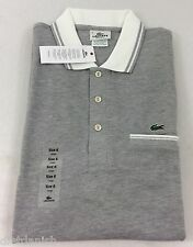 Lacoste Men's Polo Shirt Brand New with Tags Silver Chine White Size EU 6 US L